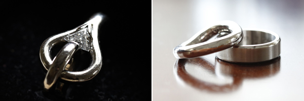 photographs of engagement ring and wedding rings