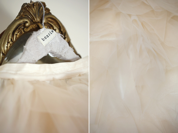 "Detail of floaty ""tea stain"" Bonzie tulle wedding skirt"