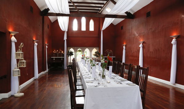 The dining room at Barnabrow set up for Banquet style dining