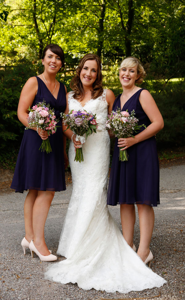 Bride and her two sister bridesmaids at a wedding in Barnabrow