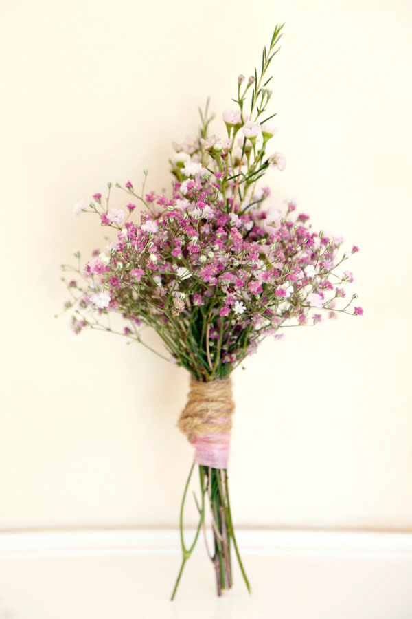 A colour photograph of a small bouquet of wild flowers