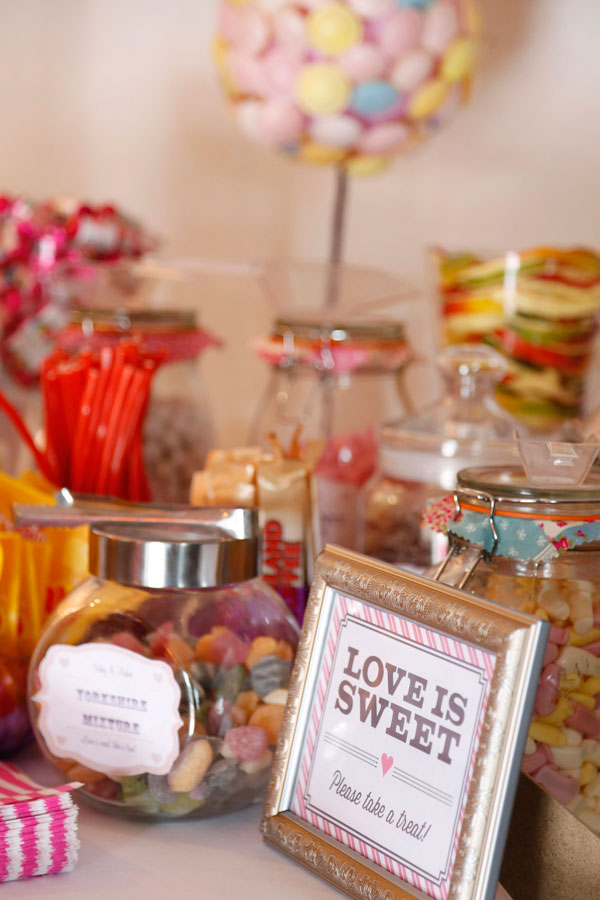 Colourful photograph of a sweet table at a wedding in Barnabrow